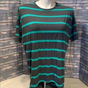 LuLaRoe Irma gray with green stripes.